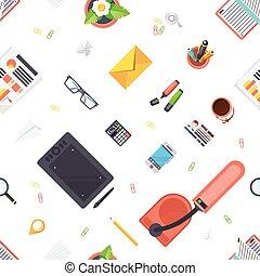 modèle, objets, lieu travail, seamless