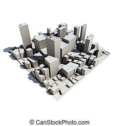 modèle, -, ombre, cityscape, 3d