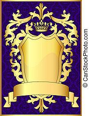modèle, or, bande, bouclier, couronne royale