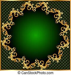 modèle, or, fond, vert