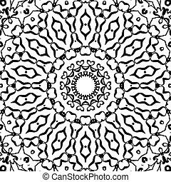 modèle, ornement, seamless, indien, noir, typon, symétrique, blanc