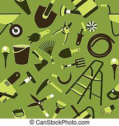 modèle, outils, jardin, seamless