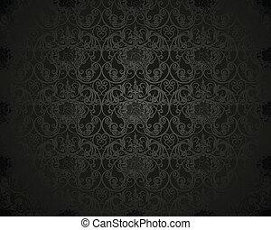 modèle, papier peint, noir, seamless