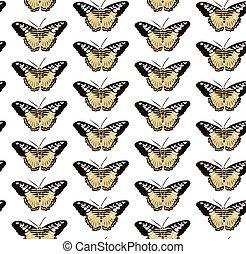 modèle, papillons, seamless