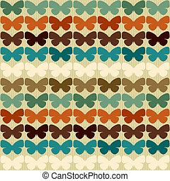 modèle, papillons, style., seamless, retro