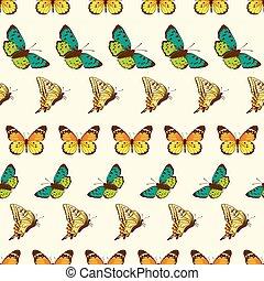 modèle, papillons, vecteur, raies, seamless