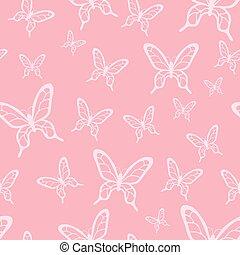 modèle, papillons, vecteur, romantique, seamless