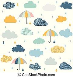 modèle, parapluie, seamless, nuages pluie