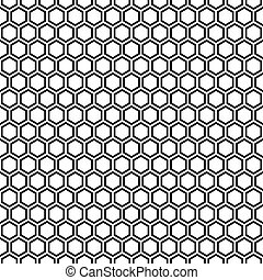 modèle, pattern., seamless, texture, arrière-plan., noir, hexagonal, blanc, rayon miel