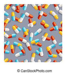 modèle, pilules, seamless