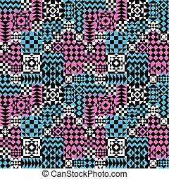 modèle, pink-blue, patchwork, géométrique