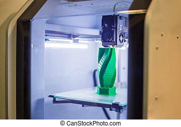 modèle, plastique, imprimante, automatique, machine, dimensionnel, 3d, impression, trois