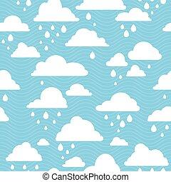 modèle, pluvieux, nuages, seamless