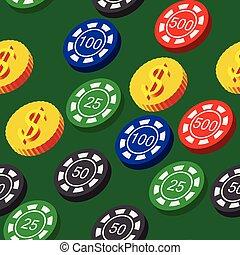 modèle, poker, pièces, chips, seamless