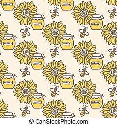 modèle, pot, abeille, hand-drawn, seamless, bee., miel, vecteur, fleur, dessin animé, sunflower., illustration., pot