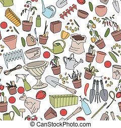 modèle, pots, seamless, jardinage, légumes, outils, fleur