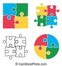 modèle, puzzle, isolé, vecteur, fond, blanc