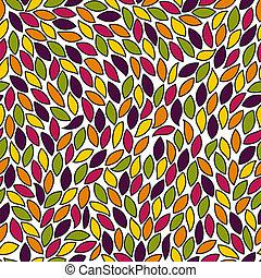 modèle, résumé, coloré, feuilles, seamless