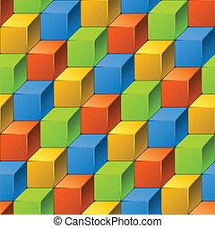 modèle, résumé, cubes., seamless