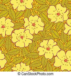 modèle, résumé, fleurs, seamless, jaune