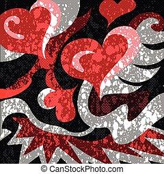 modèle, résumé, graffiti, fond, cœurs, noir rouge