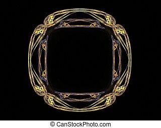 modèle, résumé, jaune, rendre, fractal, 3d