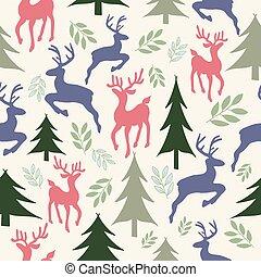 modèle, reindeers, seamless, arbres, noël
