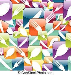 modèle, restaurant, seamless, icône