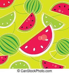 modèle, /, retro, frais, melon, fond, été, -, vert, rose