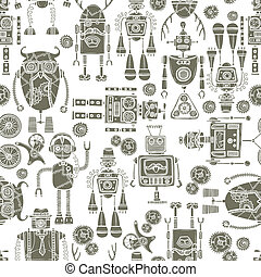 modèle, robot, seamless, hipster, noir, blanc