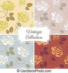 modèle, roses, collection, vendange, seamless