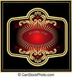 modèle, rouge noir, or, étiquette