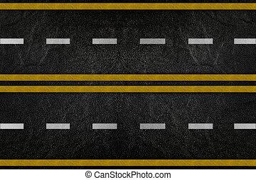 modèle, route, texture, raie jaune