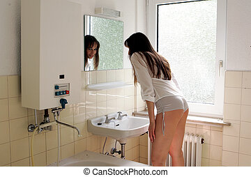 modèle, salle bains