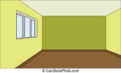 modèle, salle, virtuel