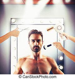 modèle, salon, beauté