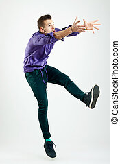 modèle, sauter, jeune, beau, homme