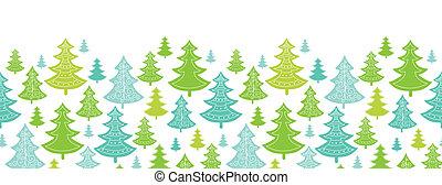 modèle, seamless, arbres, fond, horizontal, vacances, noël