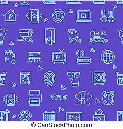 modèle, seamless, arrière-plan., vecteur, signes, maison, intelligent