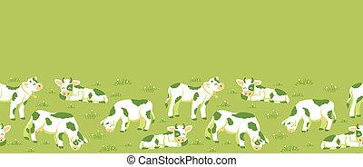 modèle, seamless, champ, fond, vaches, horizontal, frontière