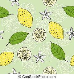 modèle, seamless, citrons