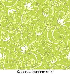 modèle, seamless, clair, vecteur, arrière-plan vert, floral