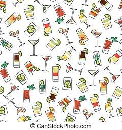 modèle, seamless, coloré, boissons