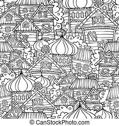modèle, seamless, dessin animé, conte, village, russe, fée, dessin
