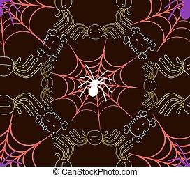modèle, seamless, enchaînements, araignés