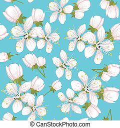 modèle, seamless, fleurs, cerise