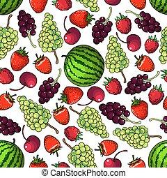 modèle, seamless, fond, fruits, frais, baies