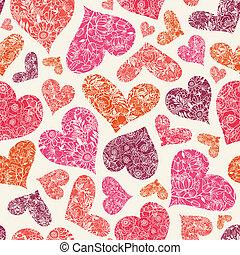 modèle, seamless, fond, textured, cœurs, rouges