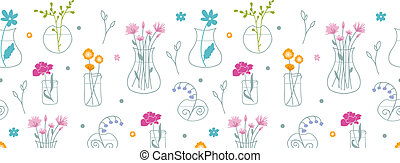 modèle, seamless, fond, vases, frais, horizontal, fleurs