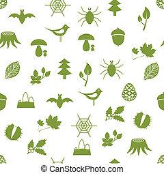 modèle, seamless, forêt